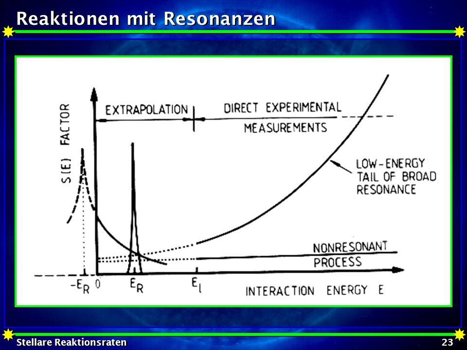 Stellare Reaktionsraten 23 Reaktionen mit Resonanzen