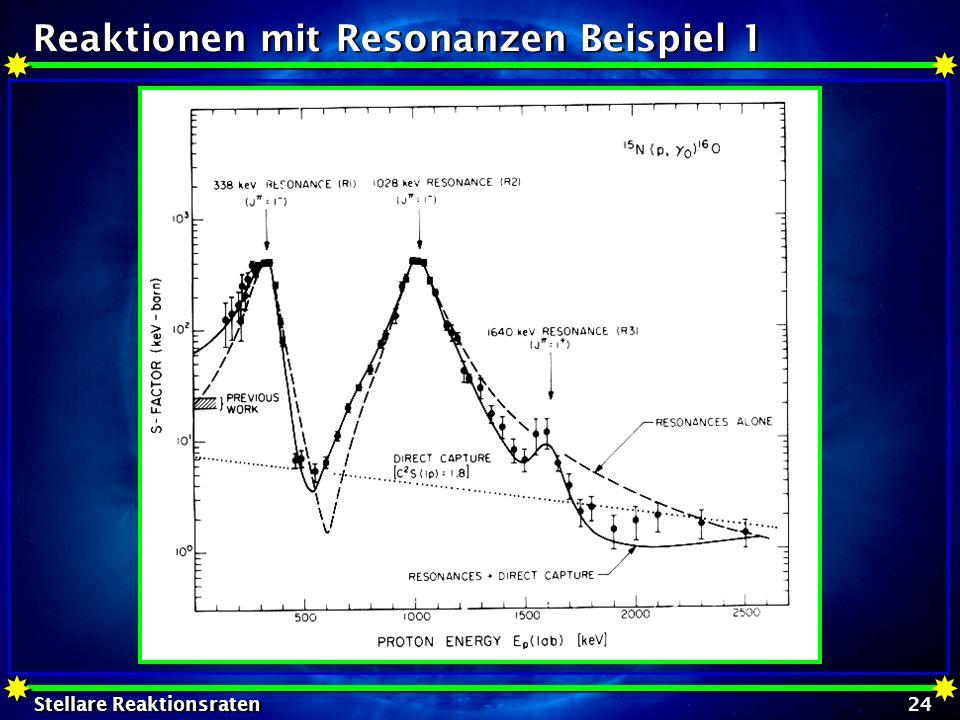 Stellare Reaktionsraten 24 Reaktionen mit Resonanzen Beispiel 1