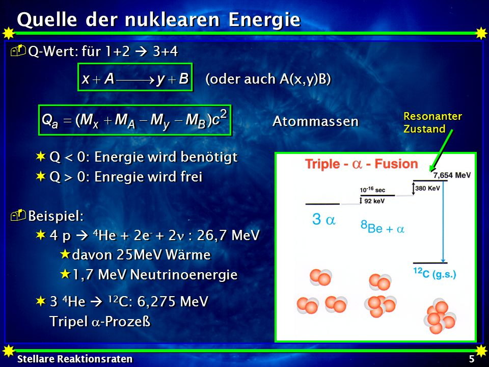 Stellare Reaktionsraten 6 Wirkungsquerschnitt Wirkungsquerschnitt für eine nukleare Reaktion: WQ ist der Überlapp der WW- Fläche von Target und Projektil Wirkungsquerschnitt ~ Fläche von Target und Projektil klassisch: Durchmesser der Kerne abhängig von der Kernladungszahl: Beispiel: Wirkungsquerschnitt für eine nukleare Reaktion: WQ ist der Überlapp der WW- Fläche von Target und Projektil Wirkungsquerschnitt ~ Fläche von Target und Projektil klassisch: Durchmesser der Kerne abhängig von der Kernladungszahl: Beispiel: mit F