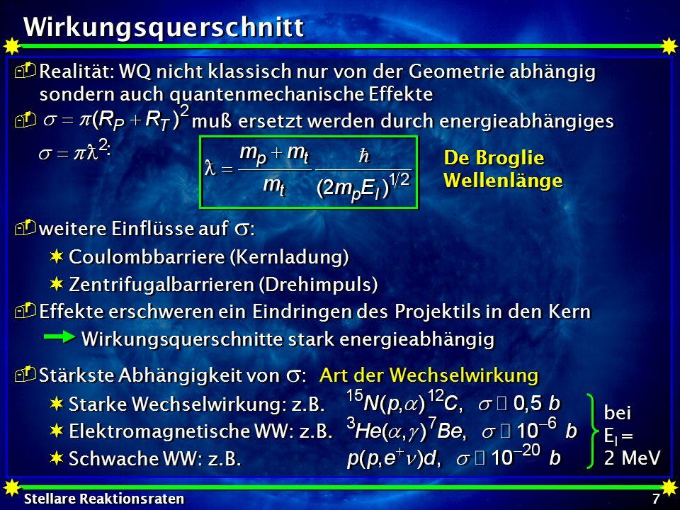 Stellare Reaktionsraten 28 Electron Screening effektive Höhe des Coulombpotentials: R n /R a ~10 -5 : Abschirmkorrektur oft vernachlässigbar falls R C für den nackten Kern in der Nähe oder sogar außerhalb von R a liegt, bekommt Abschirmungseffekt Bedeutung: meist liegen relevante Energien (in der Nähe des Gamow-Peaks) viel höher als diese Grenzenergie p + p: Gamow-Peak bei E 0 = 5,9 keV Grenzenergie bei U e = 0,029 keV effektive Höhe des Coulombpotentials: R n /R a ~10 -5 : Abschirmkorrektur oft vernachlässigbar falls R C für den nackten Kern in der Nähe oder sogar außerhalb von R a liegt, bekommt Abschirmungseffekt Bedeutung: meist liegen relevante Energien (in der Nähe des Gamow-Peaks) viel höher als diese Grenzenergie p + p: Gamow-Peak bei E 0 = 5,9 keV Grenzenergie bei U e = 0,029 keV
