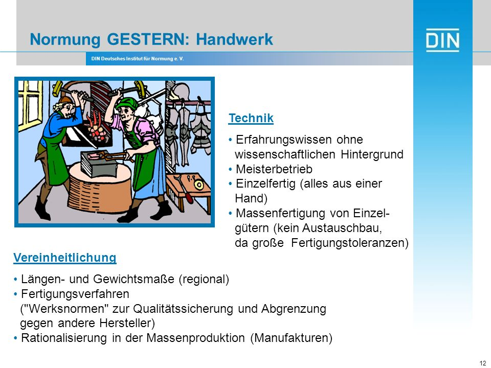 DIN Deutsches Institut für Normung e. V. 12 Technik Erfahrungswissen ohne wissenschaftlichen Hintergrund Meisterbetrieb Einzelfertig (alles aus einer