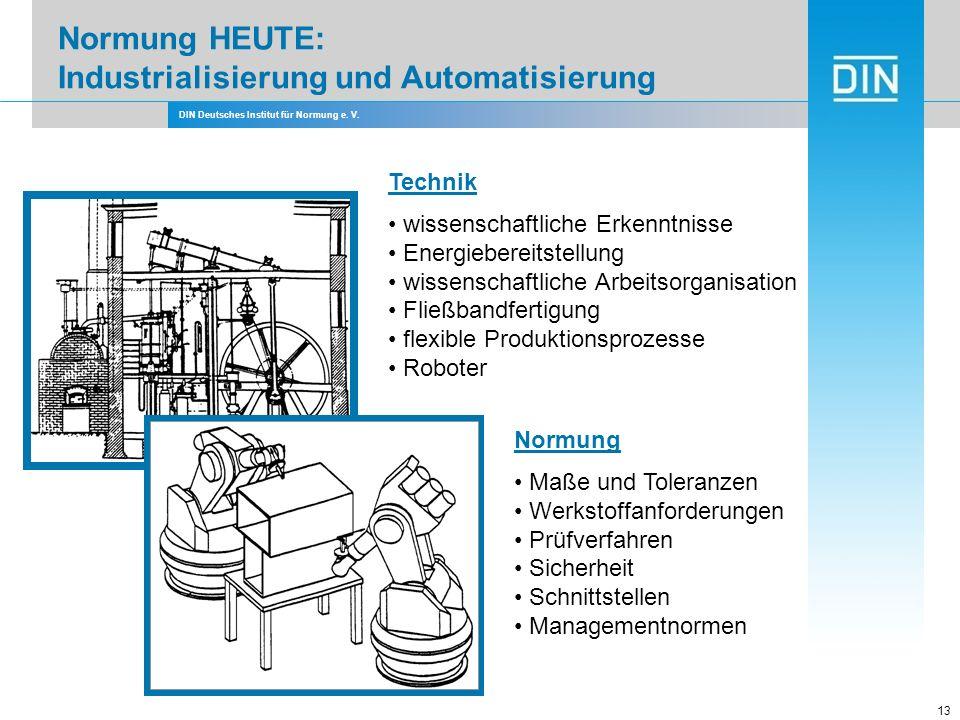 DIN Deutsches Institut für Normung e. V. 13 Technik wissenschaftliche Erkenntnisse Energiebereitstellung wissenschaftliche Arbeitsorganisation Fließba