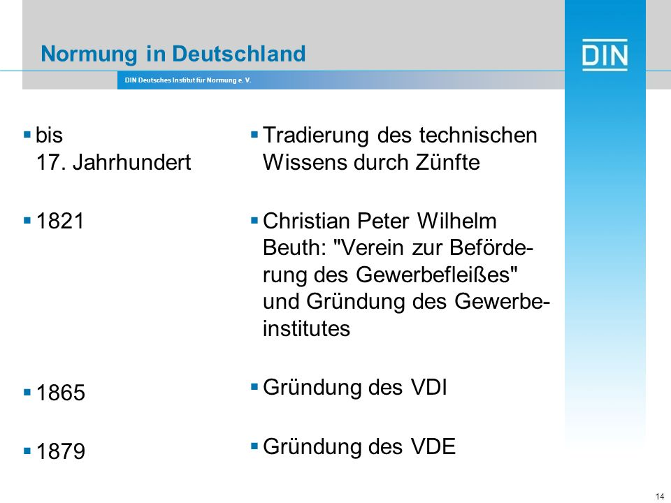 DIN Deutsches Institut für Normung e. V. 14 Normung in Deutschland bis 17. Jahrhundert 1821 1865 1879 Tradierung des technischen Wissens durch Zünfte