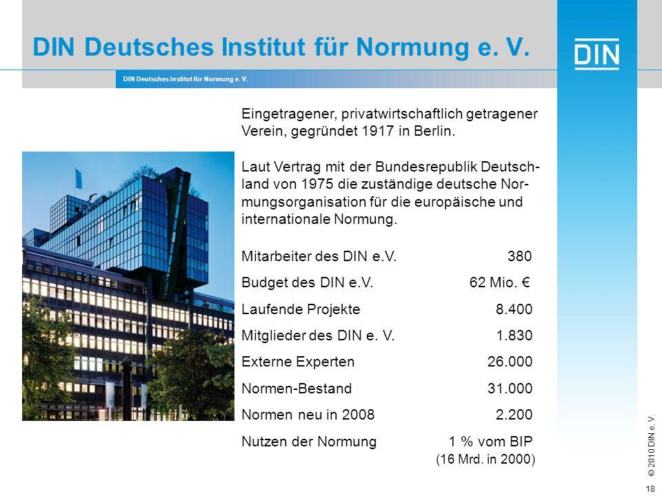 DIN Deutsches Institut für Normung e. V. © 2010 DIN e. V. DIN Deutsches Institut für Normung e. V. Eingetragener, privatwirtschaftlich getragener Vere