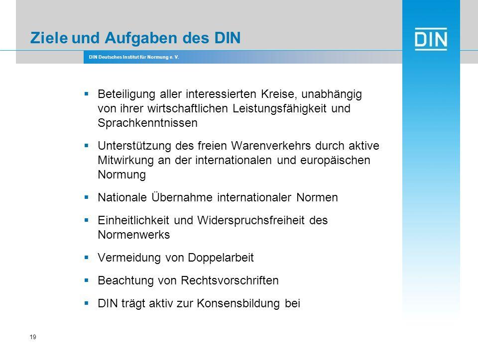 DIN Deutsches Institut für Normung e. V. 19 Ziele und Aufgaben des DIN Beteiligung aller interessierten Kreise, unabhängig von ihrer wirtschaftlichen