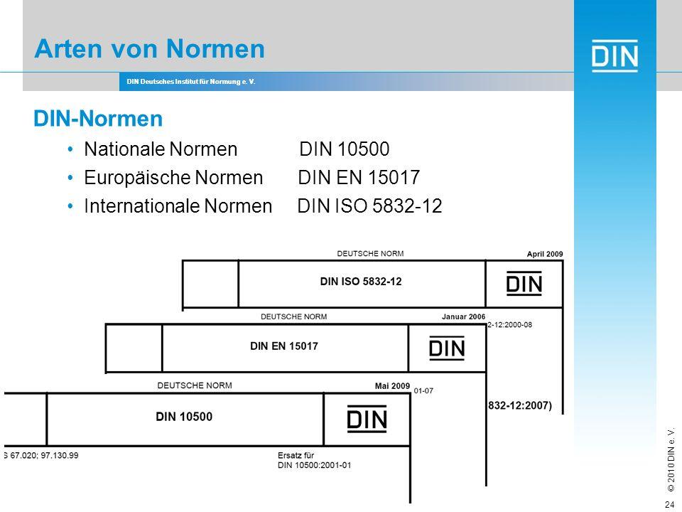 DIN Deutsches Institut für Normung e. V. © 2010 DIN e. V. DIN Deutsches Institut für Normung e. V. DIN-Normen Nationale Normen DIN 10500 Europäische N