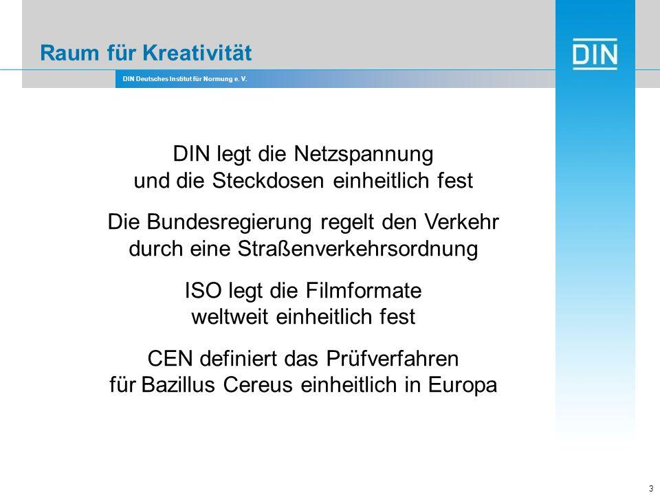 DIN Deutsches Institut für Normung e. V. 3 DIN legt die Netzspannung und die Steckdosen einheitlich fest Die Bundesregierung regelt den Verkehr durch