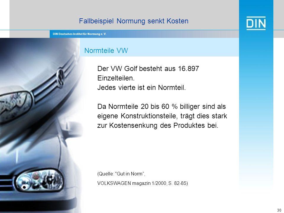DIN Deutsches Institut für Normung e. V. 30 Der VW Golf besteht aus 16.897 Einzelteilen. Jedes vierte ist ein Normteil. Da Normteile 20 bis 60 % billi