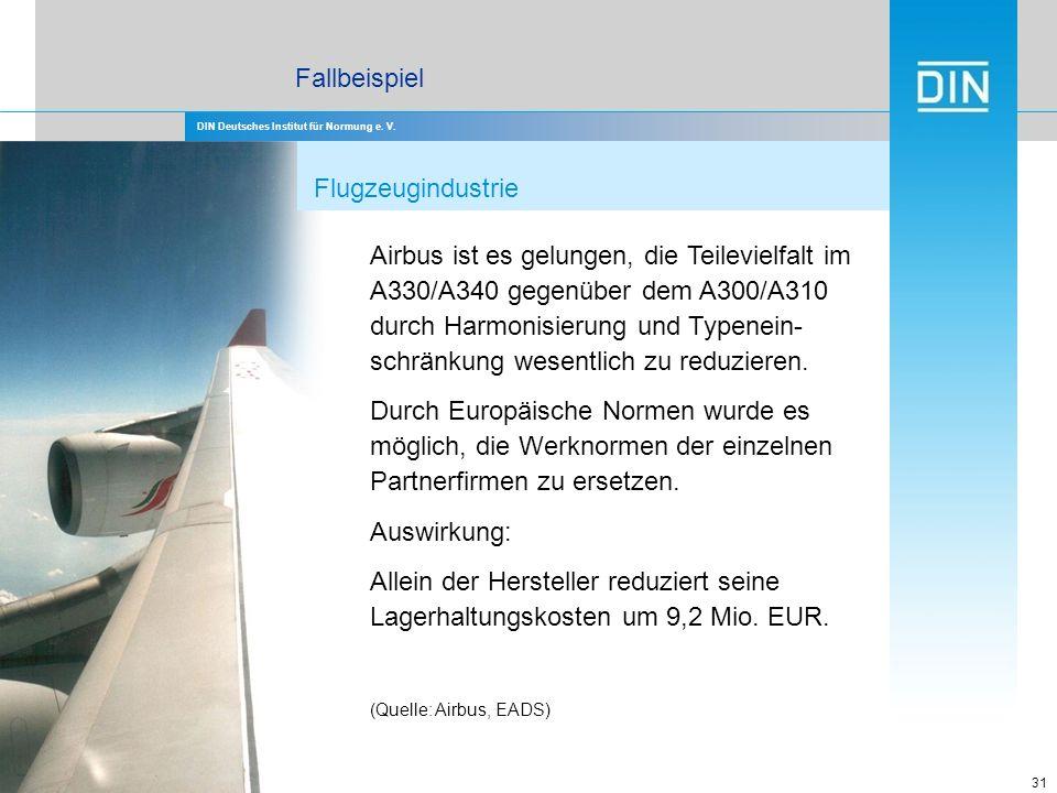 DIN Deutsches Institut für Normung e. V. 31 Airbus ist es gelungen, die Teilevielfalt im A330/A340 gegenüber dem A300/A310 durch Harmonisierung und Ty