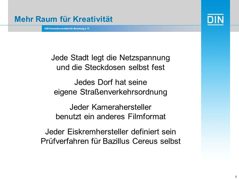 DIN Deutsches Institut für Normung e. V. 4 Jede Stadt legt die Netzspannung und die Steckdosen selbst fest Jedes Dorf hat seine eigene Straßenverkehrs