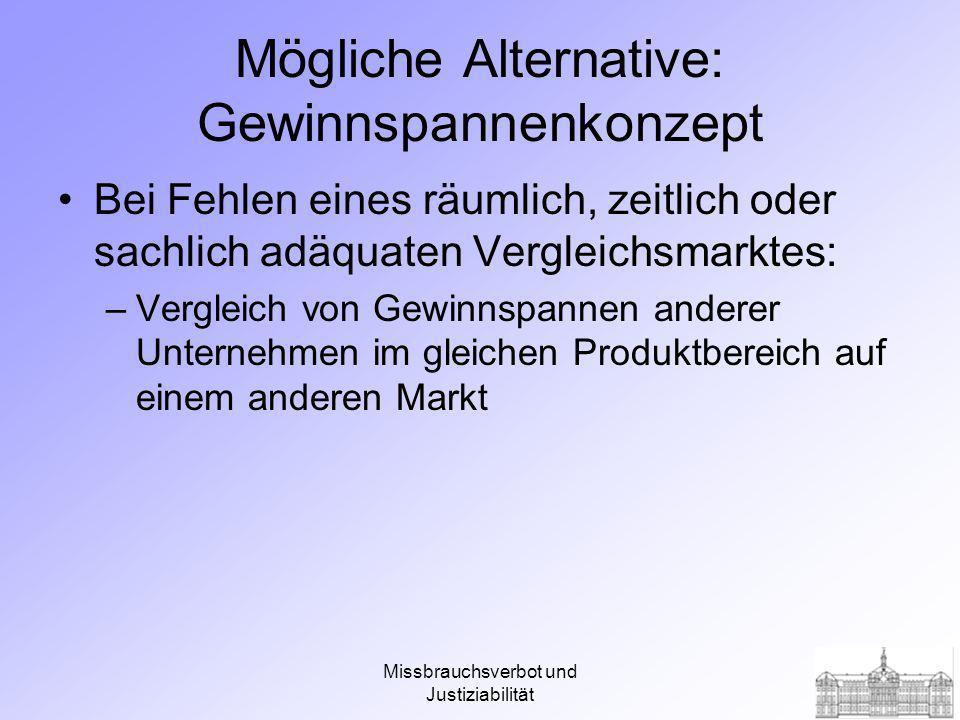 Missbrauchsverbot und Justiziabilität Mögliche Alternative: Gewinnspannenkonzept Bei Fehlen eines räumlich, zeitlich oder sachlich adäquaten Vergleichsmarktes: –Vergleich von Gewinnspannen anderer Unternehmen im gleichen Produktbereich auf einem anderen Markt
