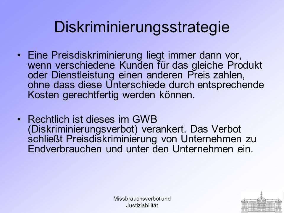 Missbrauchsverbot und Justiziabilität Diskriminierungsstrategie Methoden: Preisdifferenzierung Rabatt Liefer- und Bezugsverweigerung Preisdifferenzierung 1.