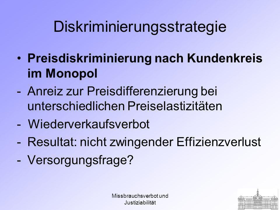 Missbrauchsverbot und Justiziabilität Preisdiskriminierung nach Kundenkreis im Monopol x P A B Angebot möglicher Effizienzverlust