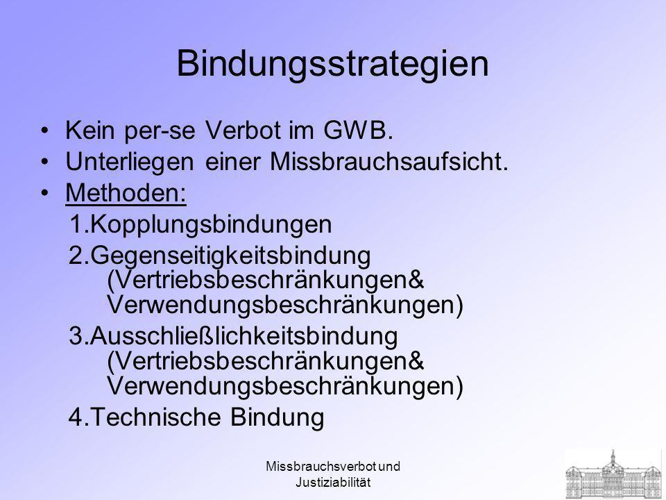 Missbrauchsverbot und Justiziabilität Bindungsstrategien Kein per-se Verbot im GWB.