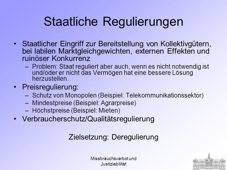 Missbrauchsverbot und Justiziabilität Literatur Neumann, Manfred (2000), Wettbewerbspolitik – Geschichte, Theorie und Praxis, Wiesbaden, Kap.