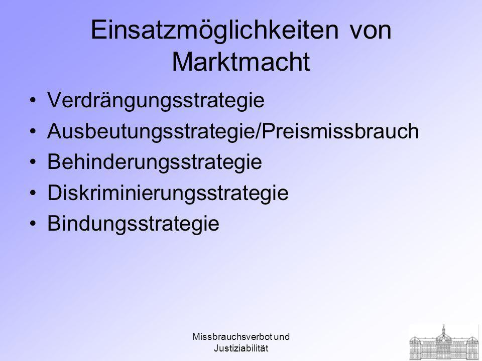Missbrauchsverbot und Justiziabilität Arten und Strategien von Marktmachtmissbrauch Missbrauch von Marktmacht AnbietermachtRivalitätsmachtNachfragermacht Ausbeutungs- strategie Verdrängungs- strategie Bindungs- strategie Behinderungs -strategie Diskriminie- rungs- strategie Quelle: Olten, Wettbewerbstheorie und Wettbewerbspolitik, S.