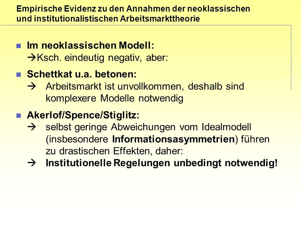 Empirische Evidenz zu den Annahmen der neoklassischen und institutionalistischen Arbeitsmarkttheorie Im neoklassischen Modell: Ksch.