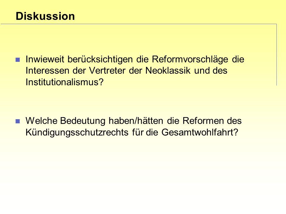 Diskussion Inwieweit berücksichtigen die Reformvorschläge die Interessen der Vertreter der Neoklassik und des Institutionalismus.