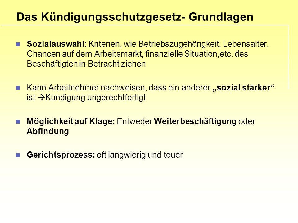 Das Kündigungsschutzgesetz- Grundlagen Sozialauswahl: Kriterien, wie Betriebszugehörigkeit, Lebensalter, Chancen auf dem Arbeitsmarkt, finanzielle Situation,etc.