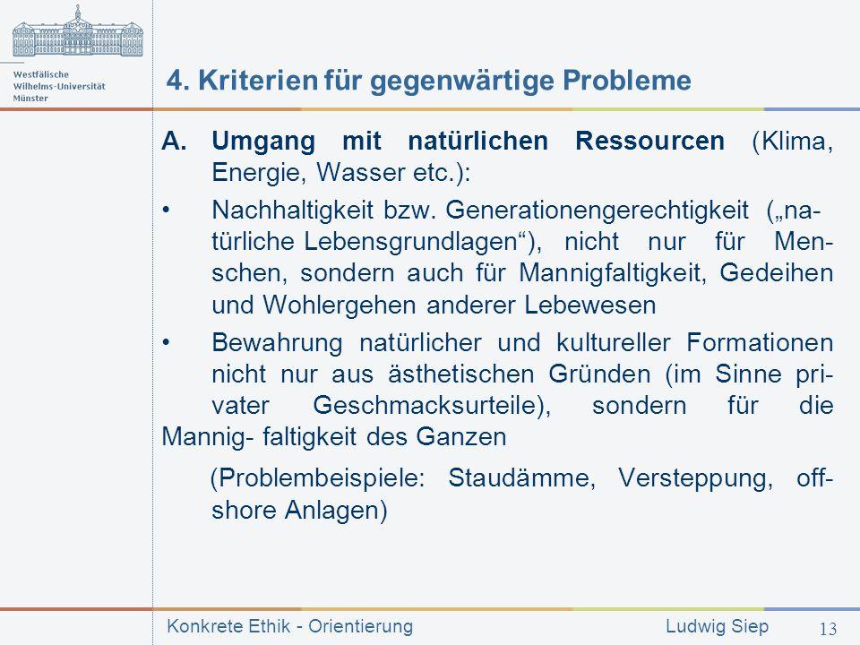Konkrete Ethik - Orientierung Ludwig Siep 13 4.