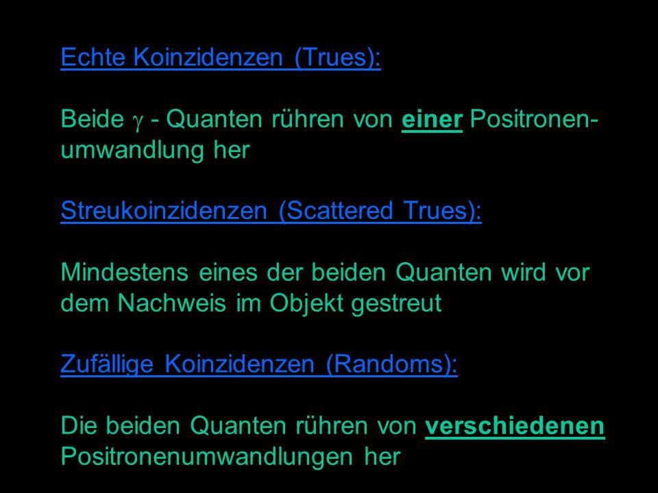 Echte Koinzidenzen (Trues): Beide - Quanten rühren von einer Positronen- umwandlung her Streukoinzidenzen (Scattered Trues): Mindestens eines der beiden Quanten wird vor dem Nachweis im Objekt gestreut Zufällige Koinzidenzen (Randoms): Die beiden Quanten rühren von verschiedenen Positronenumwandlungen her