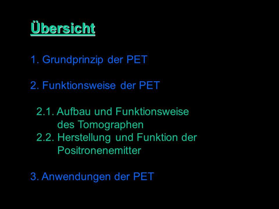 Übersicht 1.Grundprinzip der PET 2. Funktionsweise der PET 2.1.