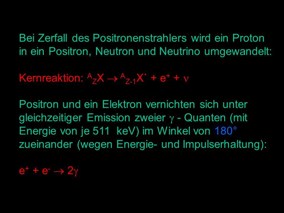 Bei Zerfall des Positronenstrahlers wird ein Proton in ein Positron, Neutron und Neutrino umgewandelt: Kernreaktion: A Z X A Z-1 X` + e + + Positron und ein Elektron vernichten sich unter gleichzeitiger Emission zweier - Quanten (mit Energie von je 511 keV) im Winkel von 180° zueinander (wegen Energie- und Impulserhaltung): e + + e - 2