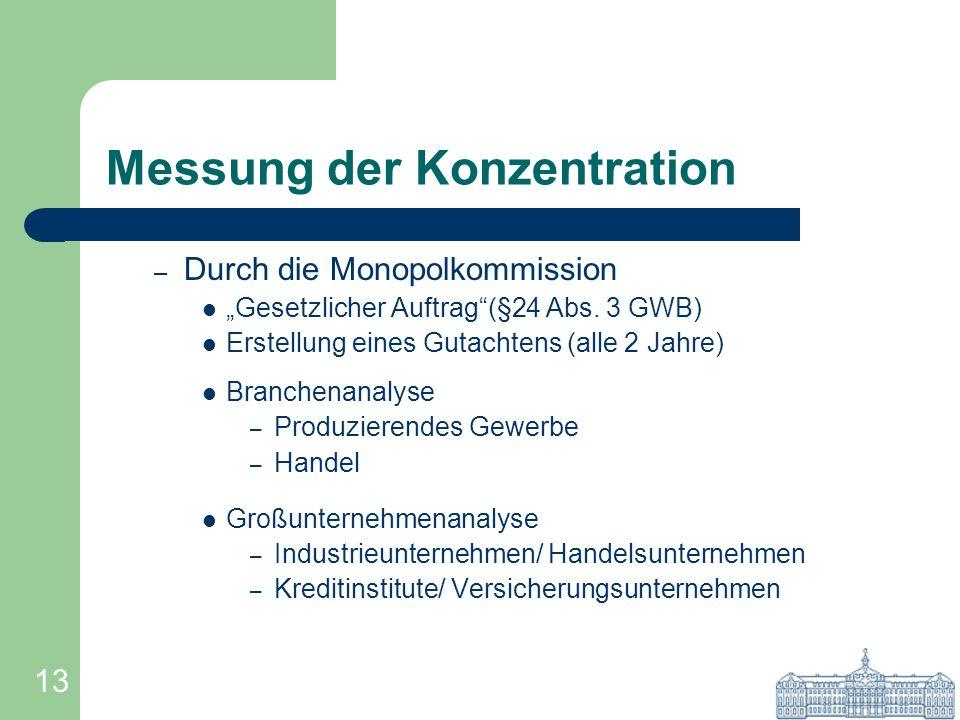 13 Messung der Konzentration – Durch die Monopolkommission Gesetzlicher Auftrag(§24 Abs. 3 GWB) Erstellung eines Gutachtens (alle 2 Jahre) Branchenana