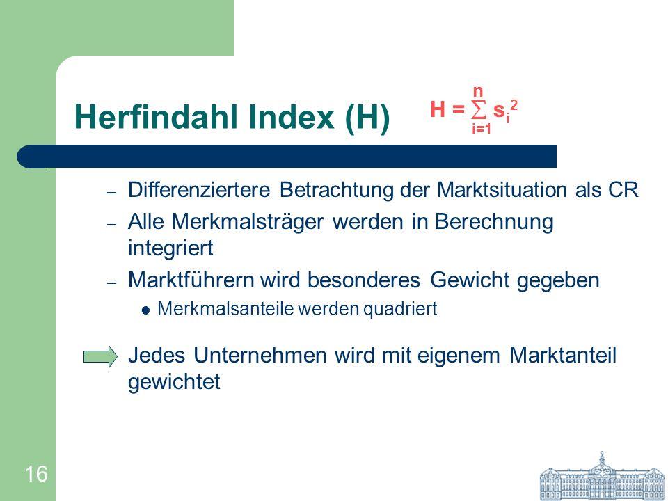 16 Herfindahl Index (H) – Differenziertere Betrachtung der Marktsituation als CR – Alle Merkmalsträger werden in Berechnung integriert – Marktführern