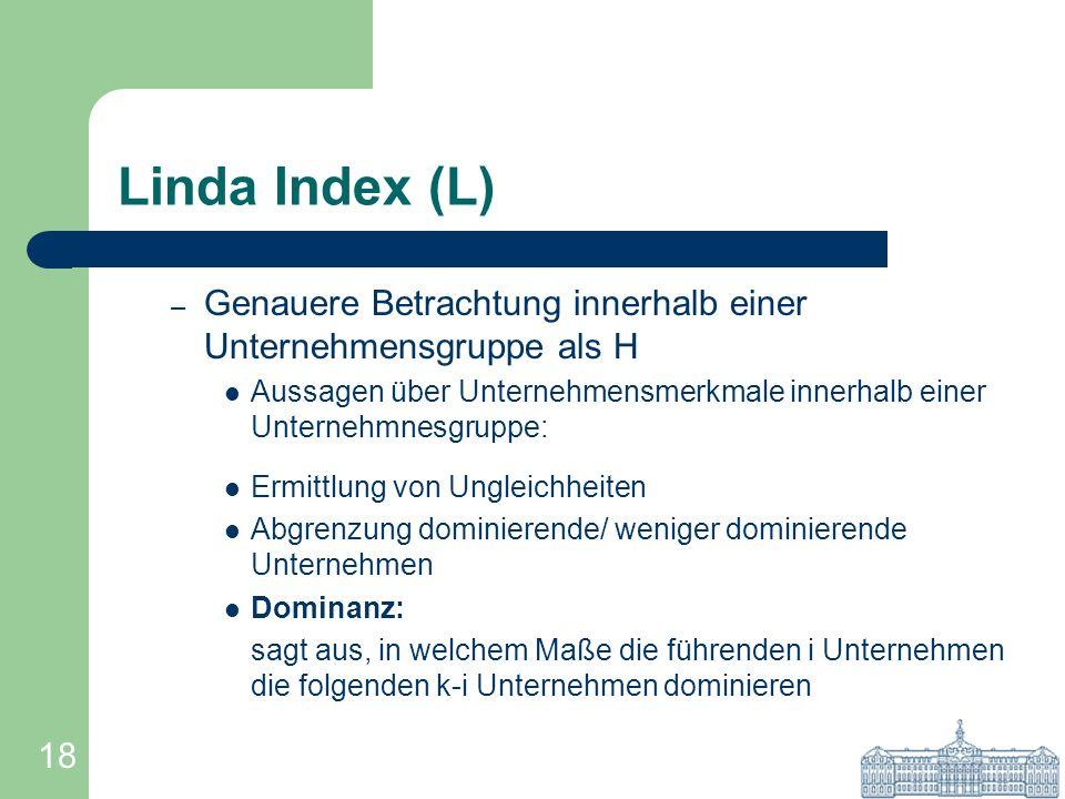 18 Linda Index (L) – Genauere Betrachtung innerhalb einer Unternehmensgruppe als H Aussagen über Unternehmensmerkmale innerhalb einer Unternehmnesgrup
