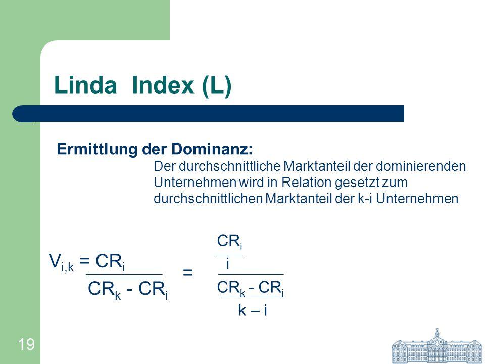 19 Linda Index (L) V i,k = CR i CR k - CR i CR i i CR k - CR i k – i Ermittlung der Dominanz: Der durchschnittliche Marktanteil der dominierenden Unte