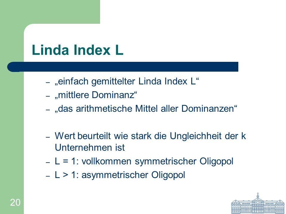 20 Linda Index L – einfach gemittelter Linda Index L – mittlere Dominanz – das arithmetische Mittel aller Dominanzen – Wert beurteilt wie stark die Un