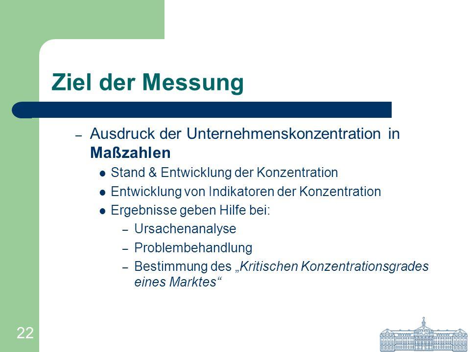 22 Ziel der Messung – Ausdruck der Unternehmenskonzentration in Maßzahlen Stand & Entwicklung der Konzentration Entwicklung von Indikatoren der Konzen