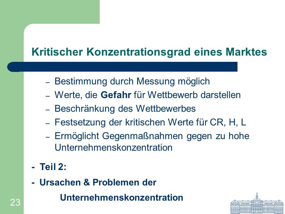 23 Kritischer Konzentrationsgrad eines Marktes – Bestimmung durch Messung möglich – Werte, die Gefahr für Wettbewerb darstellen – Beschränkung des Wet