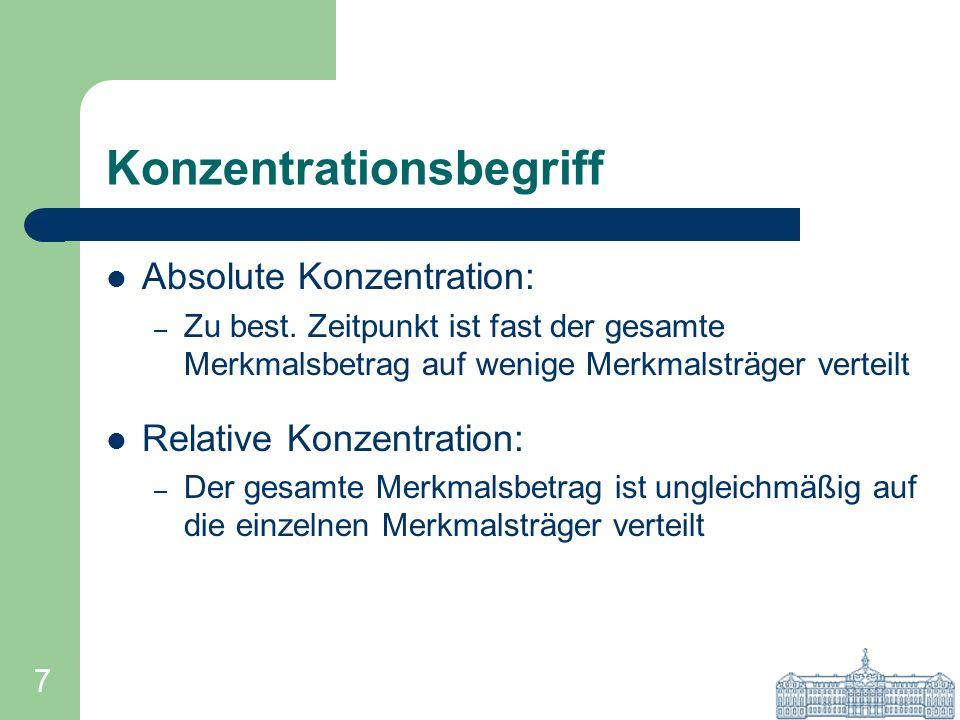 7 Konzentrationsbegriff Absolute Konzentration: – Zu best. Zeitpunkt ist fast der gesamte Merkmalsbetrag auf wenige Merkmalsträger verteilt Relative K