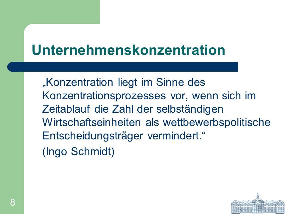 8 Unternehmenskonzentration Konzentration liegt im Sinne des Konzentrationsprozesses vor, wenn sich im Zeitablauf die Zahl der selbständigen Wirtschaf