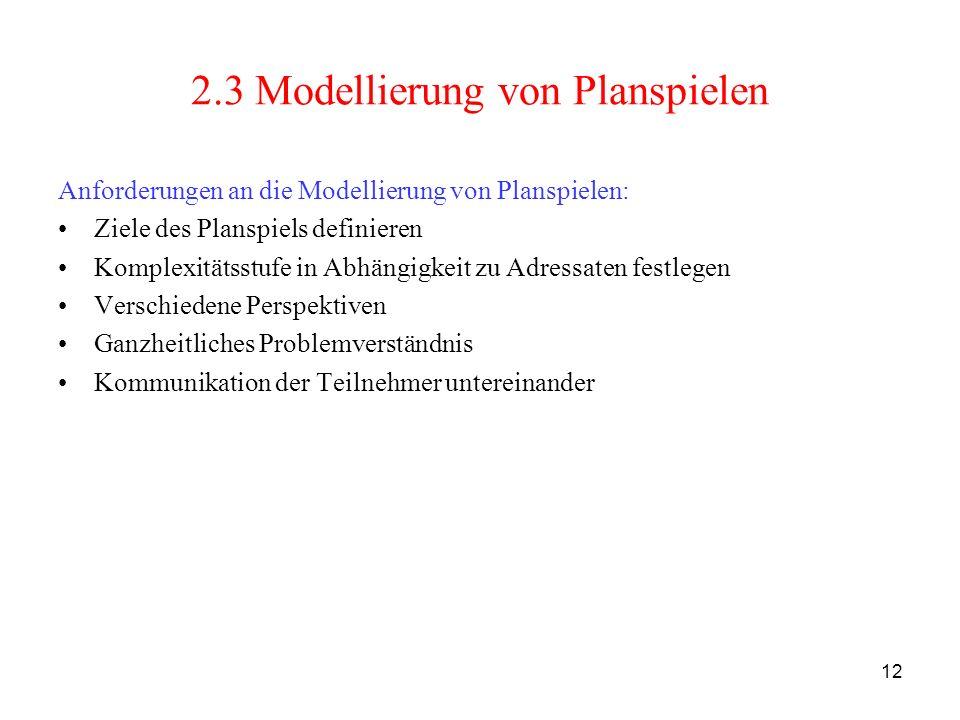 12 2.3 Modellierung von Planspielen Anforderungen an die Modellierung von Planspielen: Ziele des Planspiels definieren Komplexitätsstufe in Abhängigke