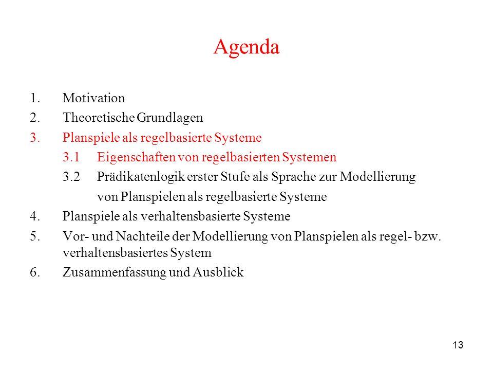 13 Agenda 1.Motivation 2.Theoretische Grundlagen 3.Planspiele als regelbasierte Systeme 3.1 Eigenschaften von regelbasierten Systemen 3.2 Prädikatenlo