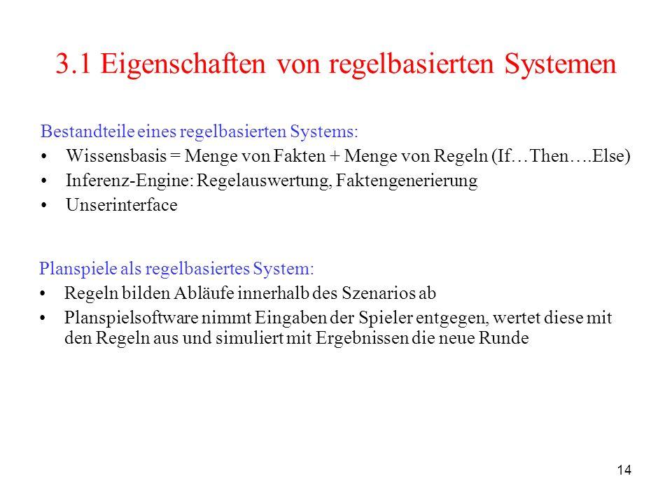 14 3.1 Eigenschaften von regelbasierten Systemen Bestandteile eines regelbasierten Systems: Wissensbasis = Menge von Fakten + Menge von Regeln (If…The