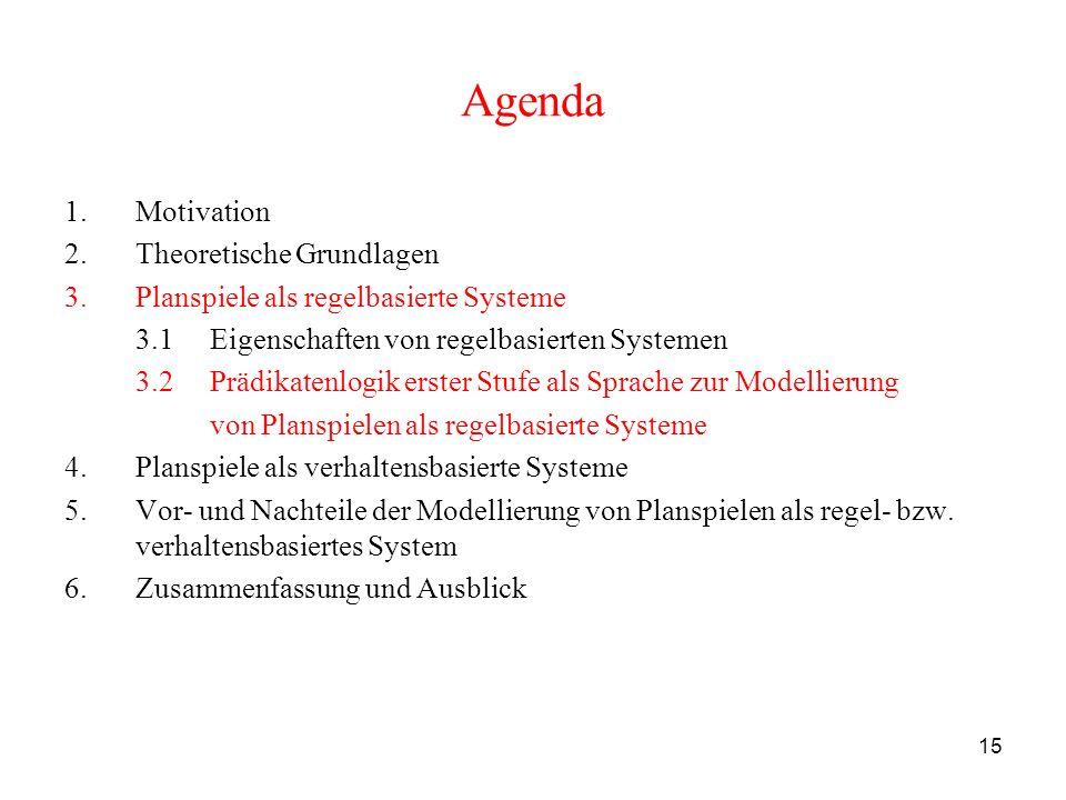 15 Agenda 1.Motivation 2.Theoretische Grundlagen 3.Planspiele als regelbasierte Systeme 3.1 Eigenschaften von regelbasierten Systemen 3.2 Prädikatenlo