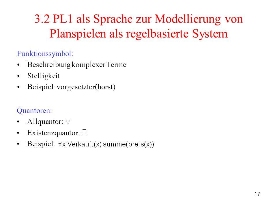 17 3.2 PL1 als Sprache zur Modellierung von Planspielen als regelbasierte System Quantoren: Allquantor: Existenzquantor: Beispiel: Funktionssymbol: Be