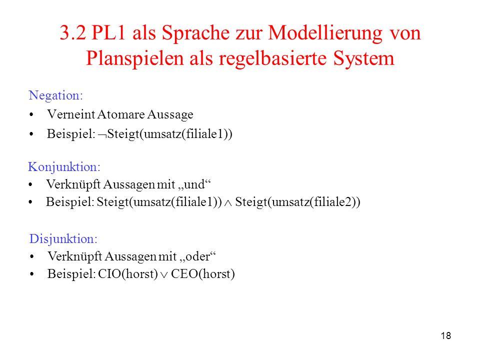 18 3.2 PL1 als Sprache zur Modellierung von Planspielen als regelbasierte System Negation: Verneint Atomare Aussage Beispiel: Steigt(umsatz(filiale1))