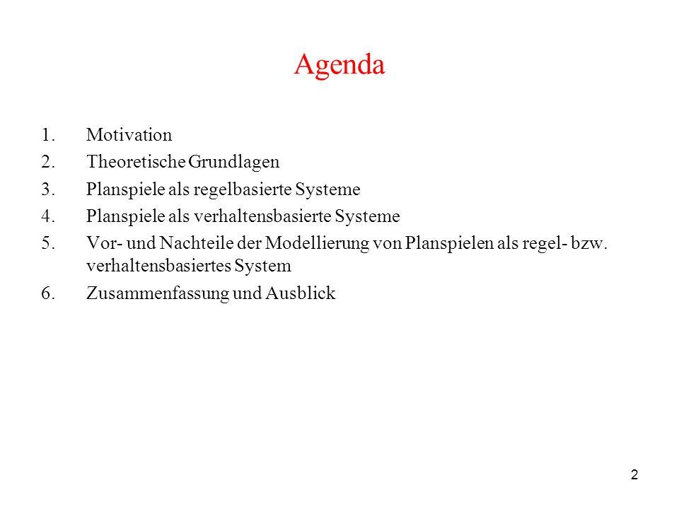 13 Agenda 1.Motivation 2.Theoretische Grundlagen 3.Planspiele als regelbasierte Systeme 3.1 Eigenschaften von regelbasierten Systemen 3.2 Prädikatenlogik erster Stufe als Sprache zur Modellierung von Planspielen als regelbasierte Systeme 4.Planspiele als verhaltensbasierte Systeme 5.Vor- und Nachteile der Modellierung von Planspielen als regel- bzw.