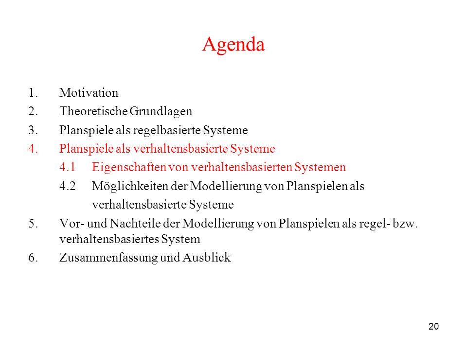 20 Agenda 1.Motivation 2.Theoretische Grundlagen 3.Planspiele als regelbasierte Systeme 4.Planspiele als verhaltensbasierte Systeme 4.1 Eigenschaften