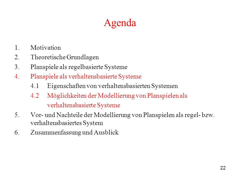 22 Agenda 1.Motivation 2.Theoretische Grundlagen 3.Planspiele als regelbasierte Systeme 4.Planspiele als verhaltensbasierte Systeme 4.1 Eigenschaften