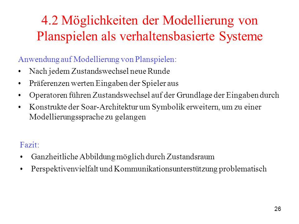 26 4.2 Möglichkeiten der Modellierung von Planspielen als verhaltensbasierte Systeme Anwendung auf Modellierung von Planspielen: Nach jedem Zustandswe