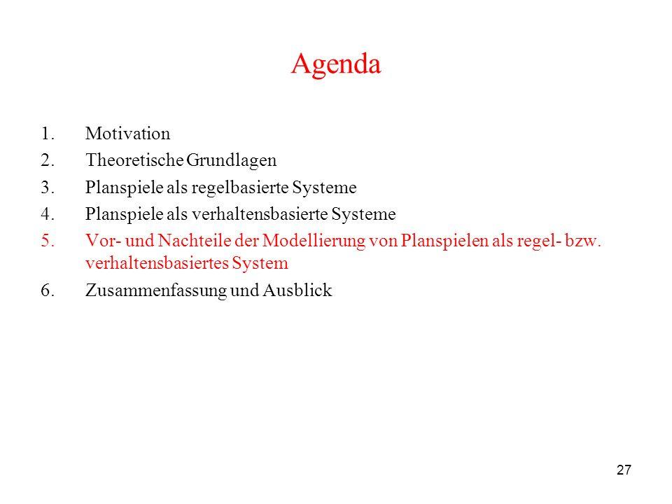 27 Agenda 1.Motivation 2.Theoretische Grundlagen 3.Planspiele als regelbasierte Systeme 4.Planspiele als verhaltensbasierte Systeme 5.Vor- und Nachtei