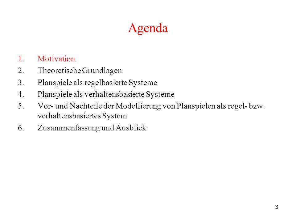 3 Agenda 1.Motivation 2.Theoretische Grundlagen 3.Planspiele als regelbasierte Systeme 4.Planspiele als verhaltensbasierte Systeme 5.Vor- und Nachteil