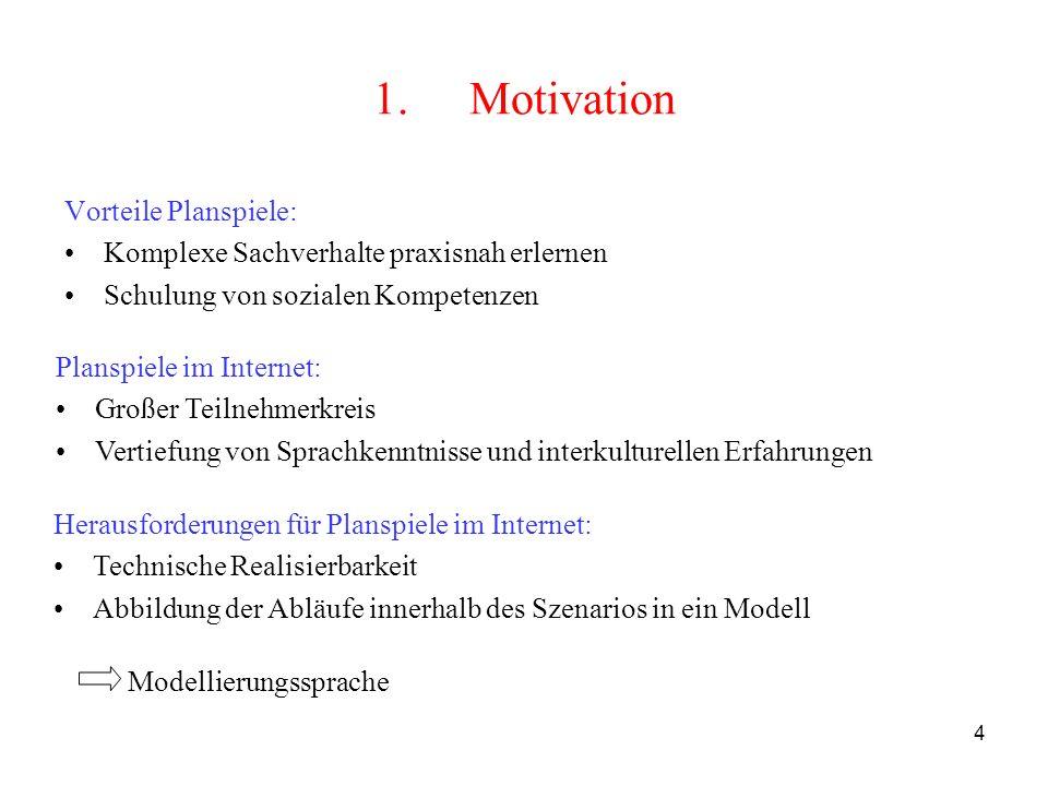 4 Herausforderungen für Planspiele im Internet: Technische Realisierbarkeit Abbildung der Abläufe innerhalb des Szenarios in ein Modell 1.Motivation V