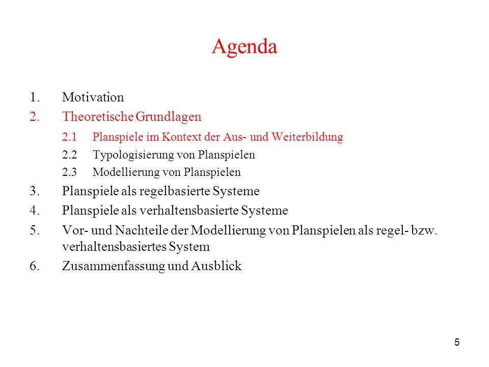 5 Agenda 1.Motivation 2.Theoretische Grundlagen 2.1 Planspiele im Kontext der Aus- und Weiterbildung 2.2 Typologisierung von Planspielen 2.3 Modellier